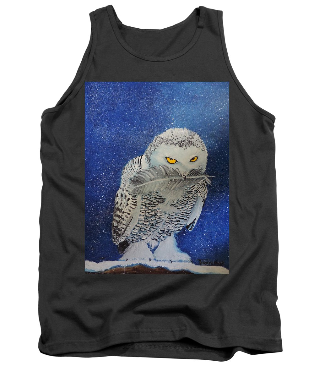 Owl Tank Top featuring the painting Snowy Owl by Terry Lewey