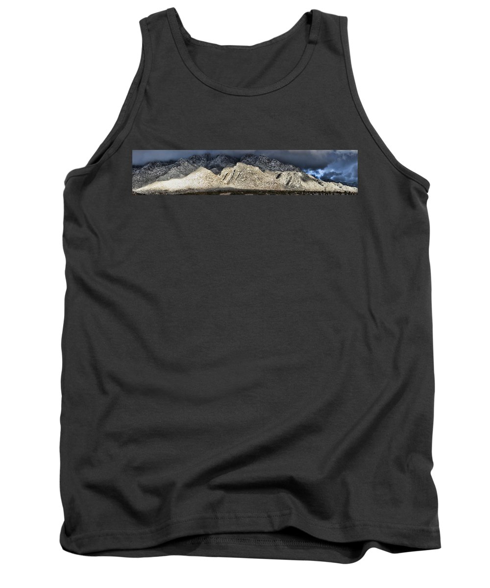 Clouds Tank Top featuring the photograph Snowy Sandia Mountain Range Huge Panorama 1150 by Brian King
