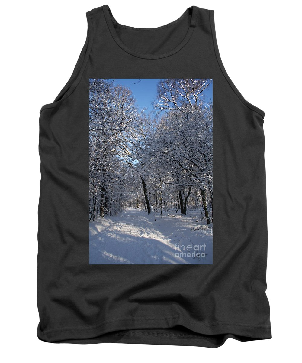 Forest Tank Top featuring the photograph Snowy Trail by Christiane Schulze Art And Photography