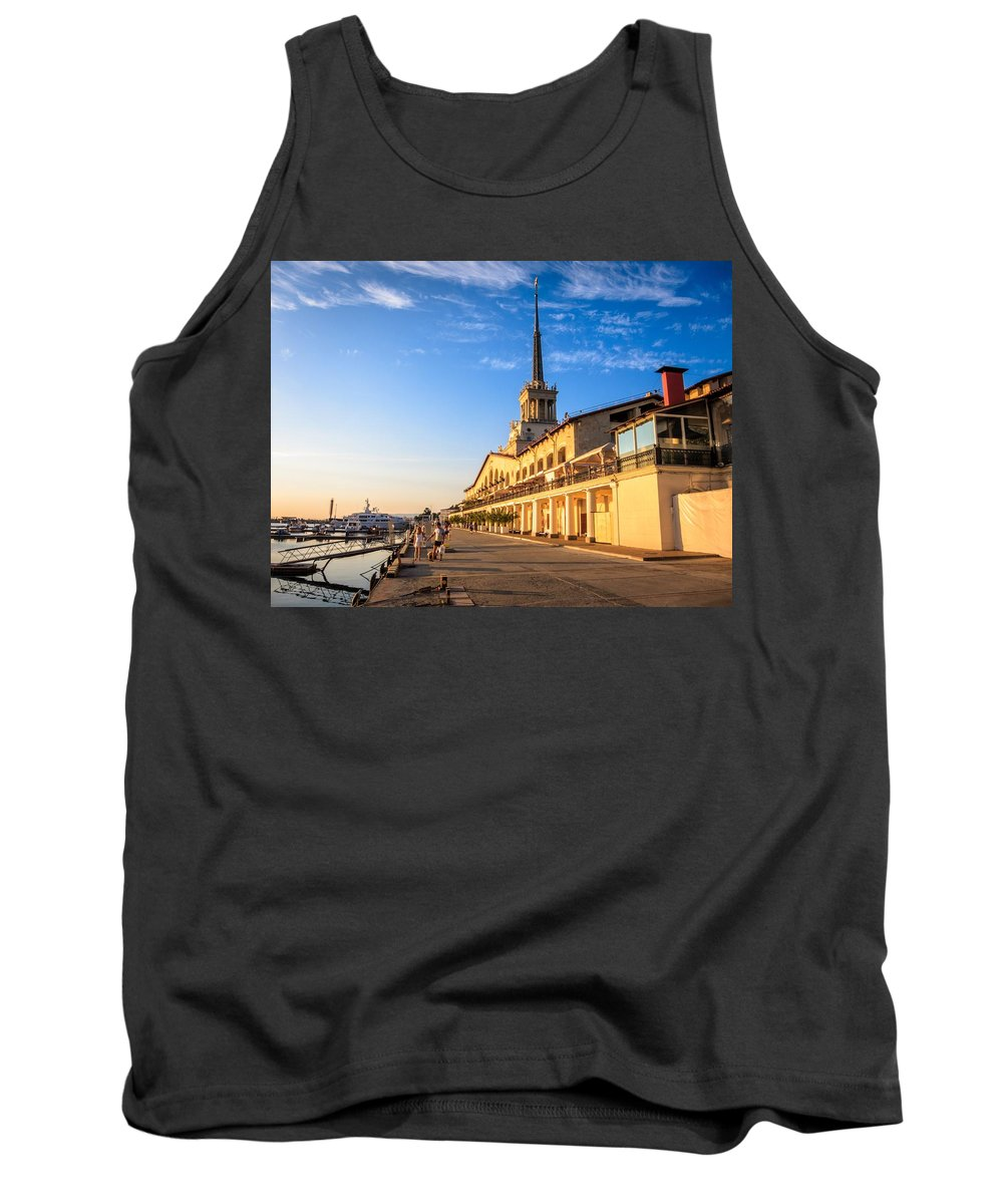 Europe Tank Top featuring the photograph Sochi Sea Port by Alexey Stiop