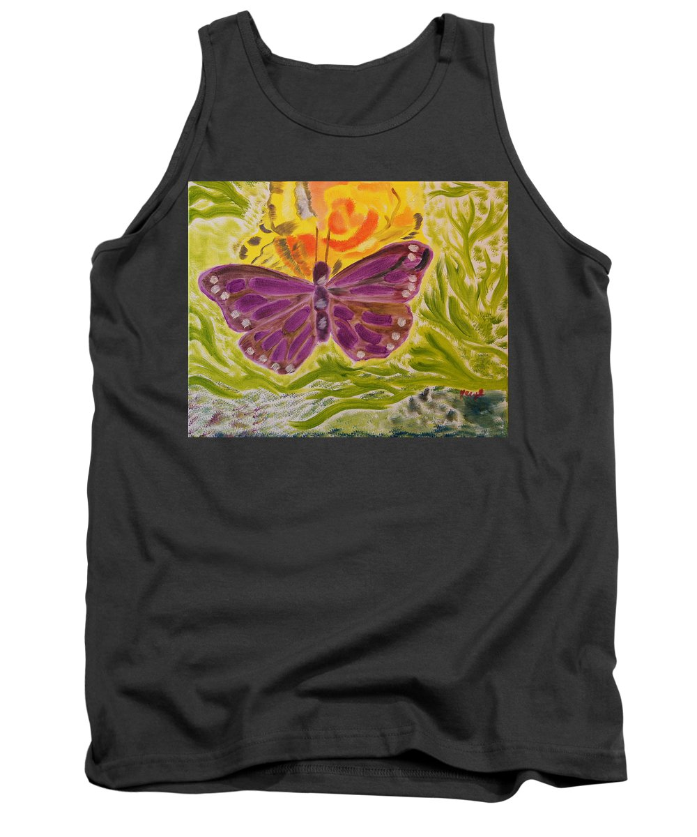 Butterfly Tank Top featuring the painting Soft Flutters by Meryl Goudey