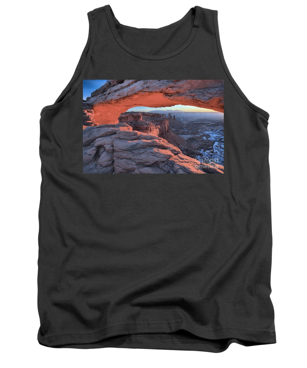 Mesa Arch Tank Top featuring the photograph Soft Light On The Rocks by Adam Jewell