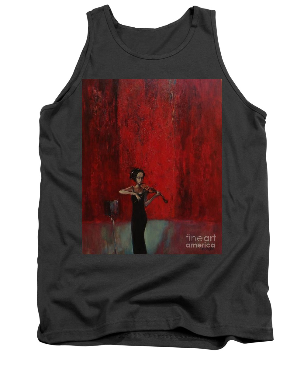Violin Tank Top featuring the painting Solo Violinist by Grigor Malinov