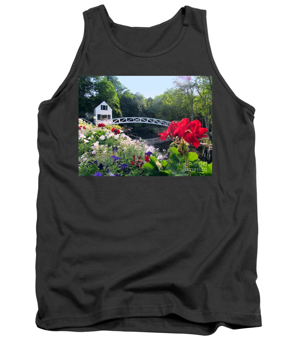 Somesville Bridge And Home Tank Top featuring the photograph Somesville Bridge And Home by Elizabeth Dow