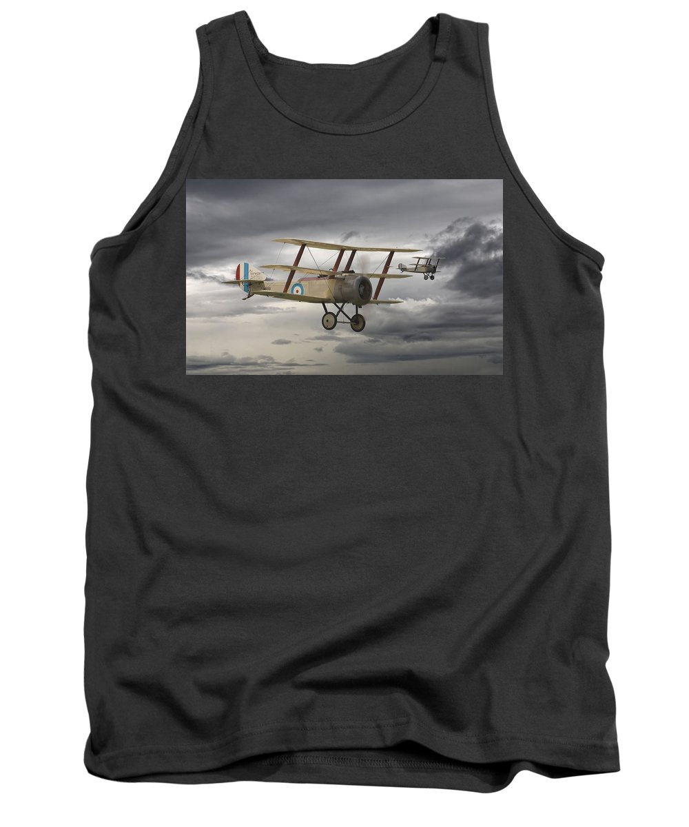 Aircraft Tank Top featuring the digital art Sopwith Triplane by Pat Speirs