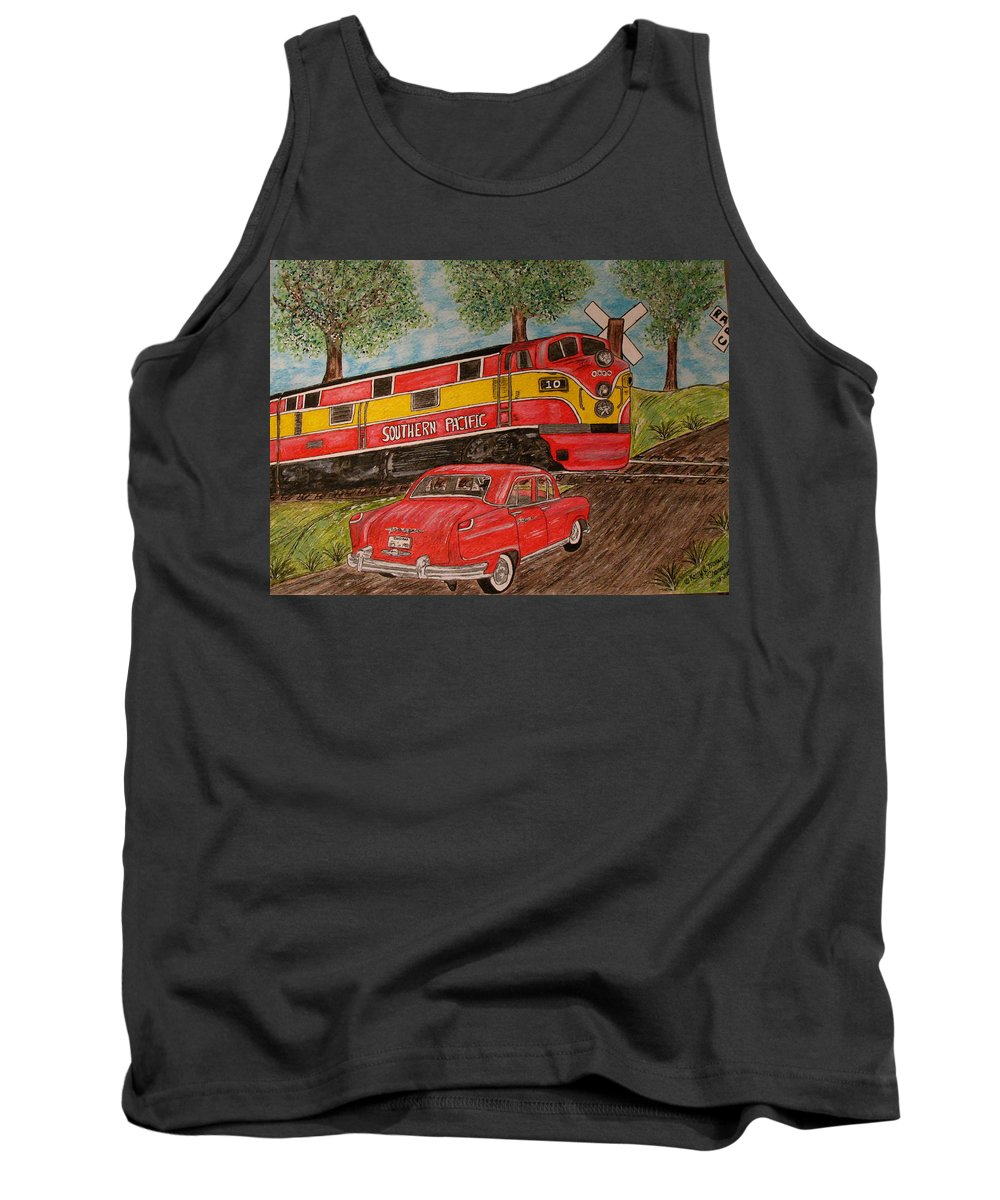 Southern Pacific Railroad Tank Top featuring the painting Southern Pacific Train 1951 Kaiser Frazer Car Rr Crossing by Kathy Marrs Chandler