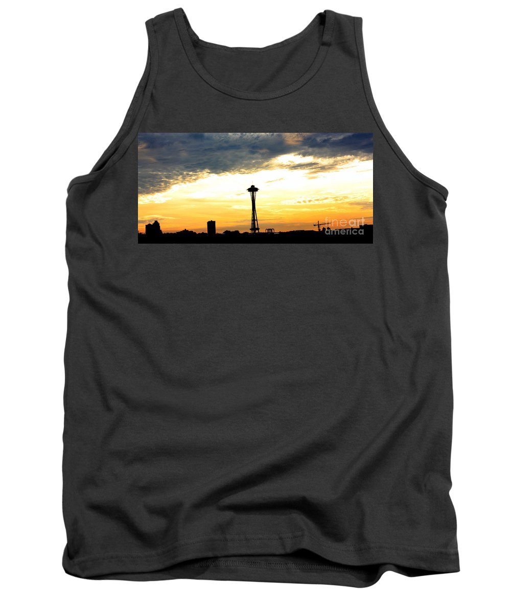 Space Needle Tank Top featuring the photograph Space Needle Sunset Sillouette by Nick Gustafson