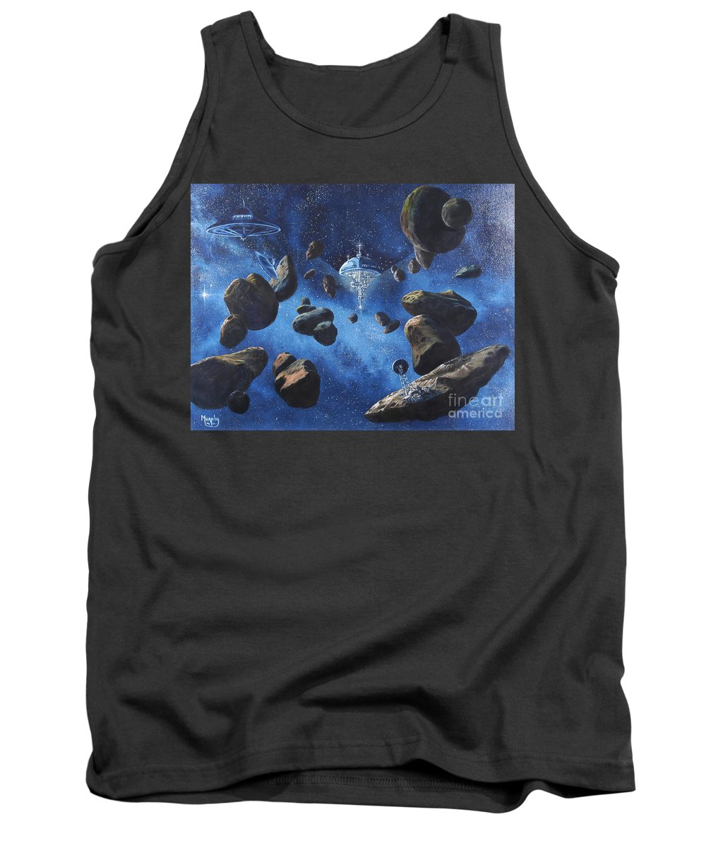 Oil Tank Top featuring the painting Space Station Outpost Twelve by Murphy Elliott