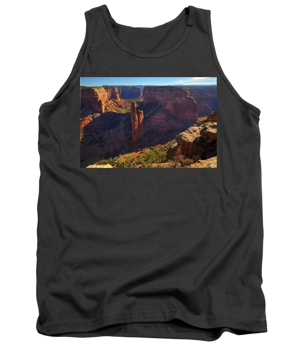Spider Rock Tank Top featuring the photograph Spider Rock Sunrise by Alan Vance Ley