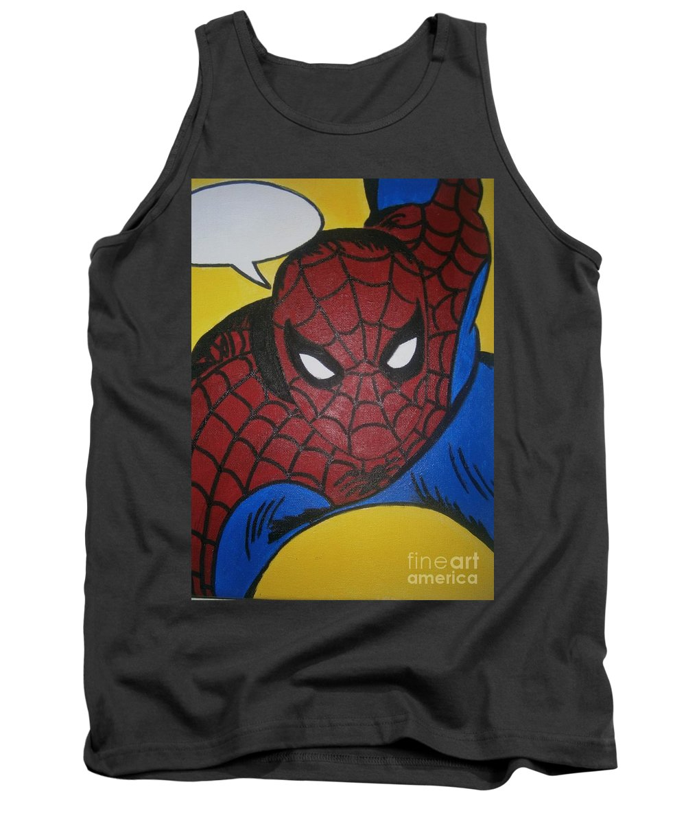 Spiderman Tank Top featuring the painting Spiderman by Neal Crossan