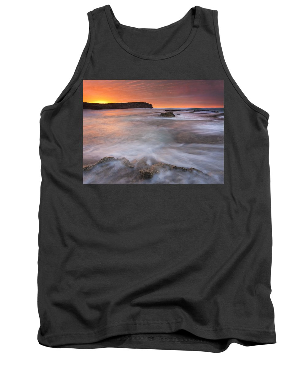 Sunrise Tank Top featuring the photograph Splitting The Tides by Mike Dawson
