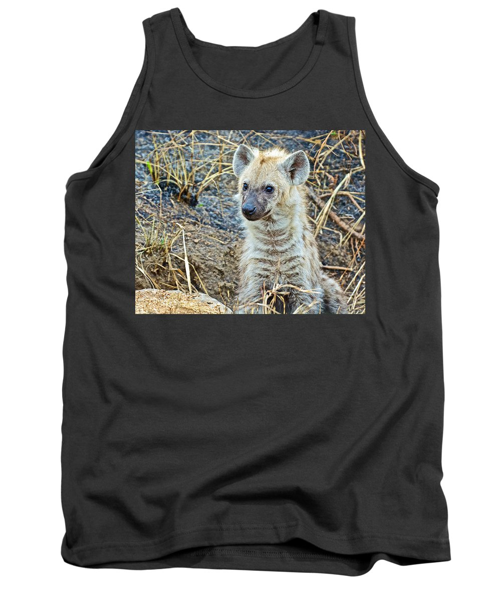Spotted Hyena Pup In Kruger National Park Tank Top featuring the photograph Spotted Hyena Pup In Kruger National Park-south Africa by Ruth Hager