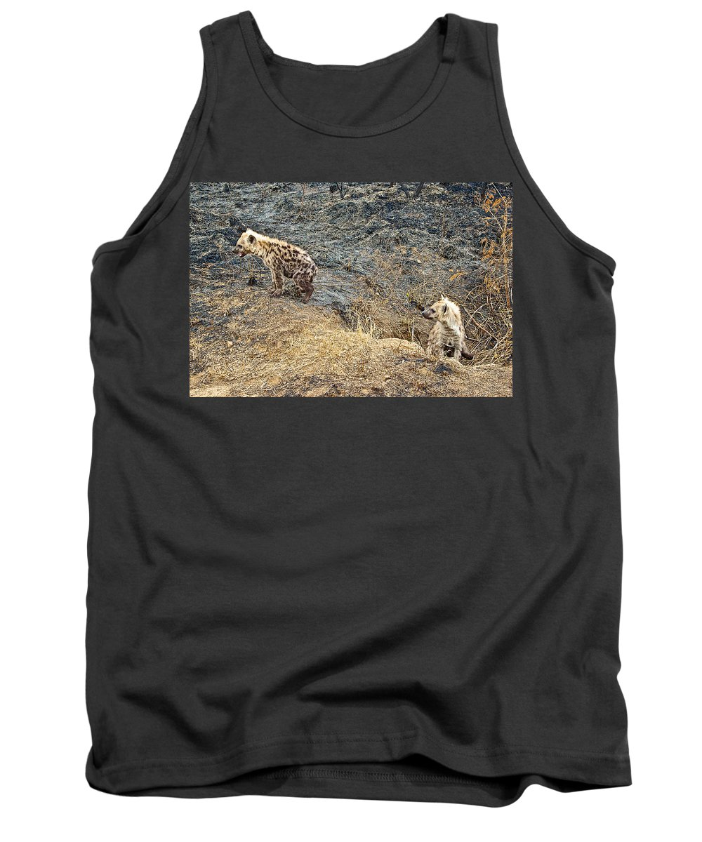 Spotted Hyena Pups In Kruger National Park Tank Top featuring the photograph Spotted Hyena Pups In Kruger National Park-south Africa by Ruth Hager