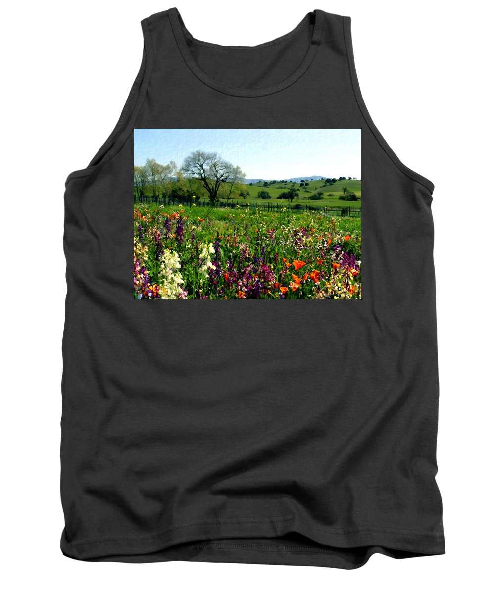 Flowers Tank Top featuring the photograph Spring Bouquet At Rusack Vineyards by Kurt Van Wagner