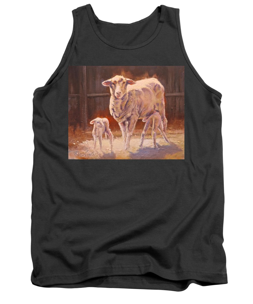 Sheep Tank Top featuring the painting Spring Gifts by Mia DeLode
