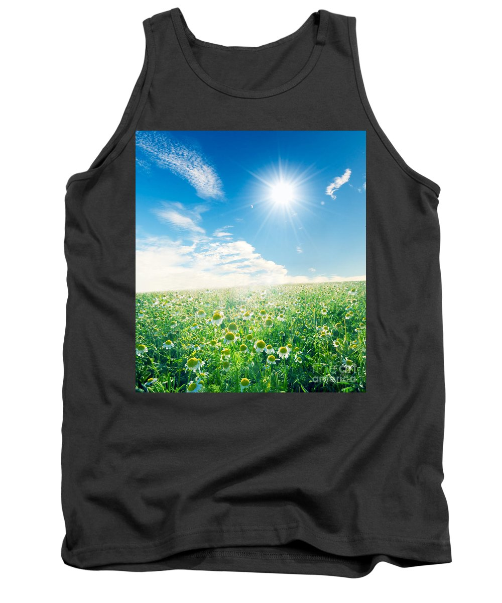 Agriculture Tank Top featuring the photograph Spring Meadow Under Sunny Blue Sky by Michal Bednarek