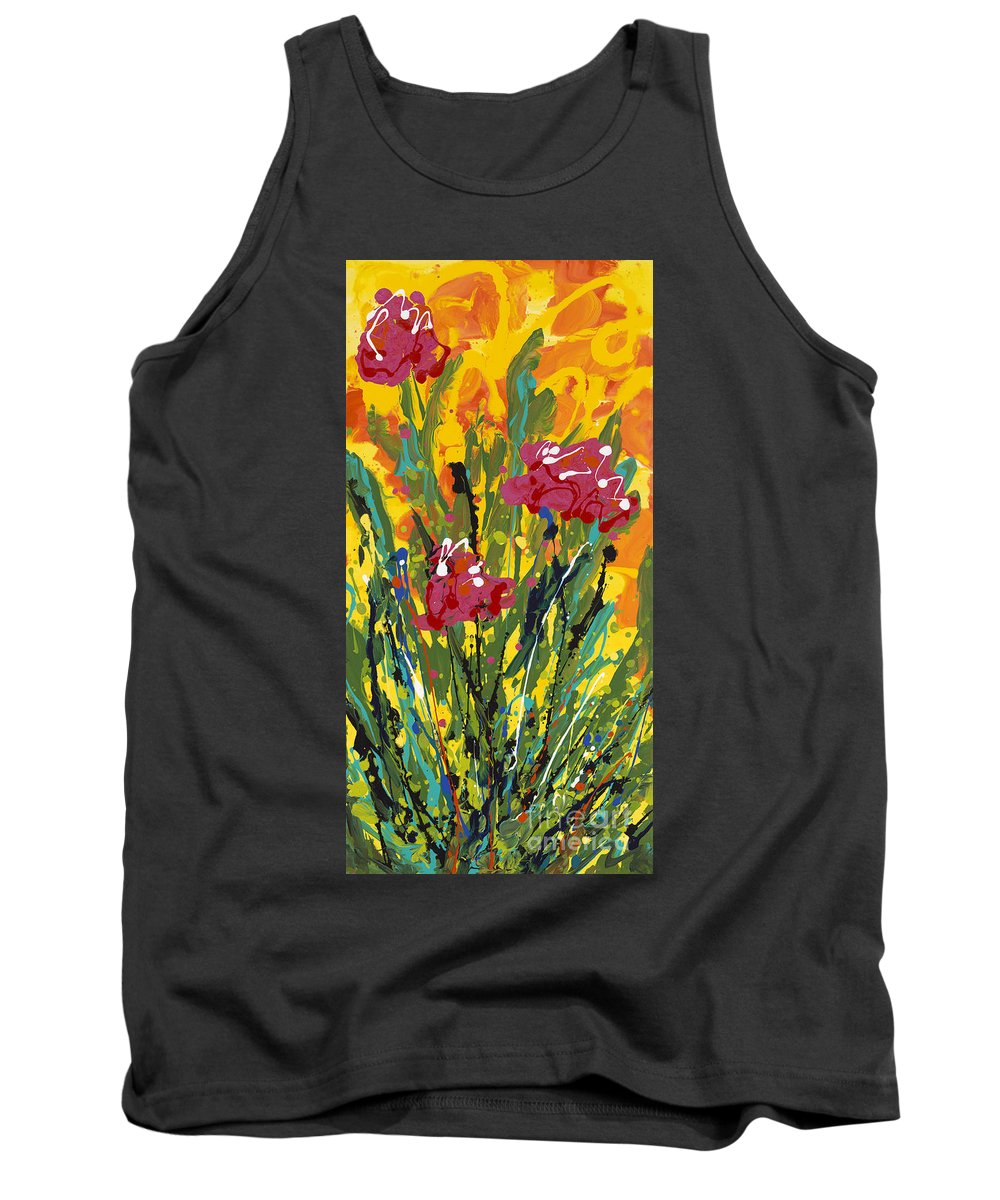 Spring Tank Top featuring the painting Spring Tulips Triptych Panel 3 by Nadine Rippelmeyer