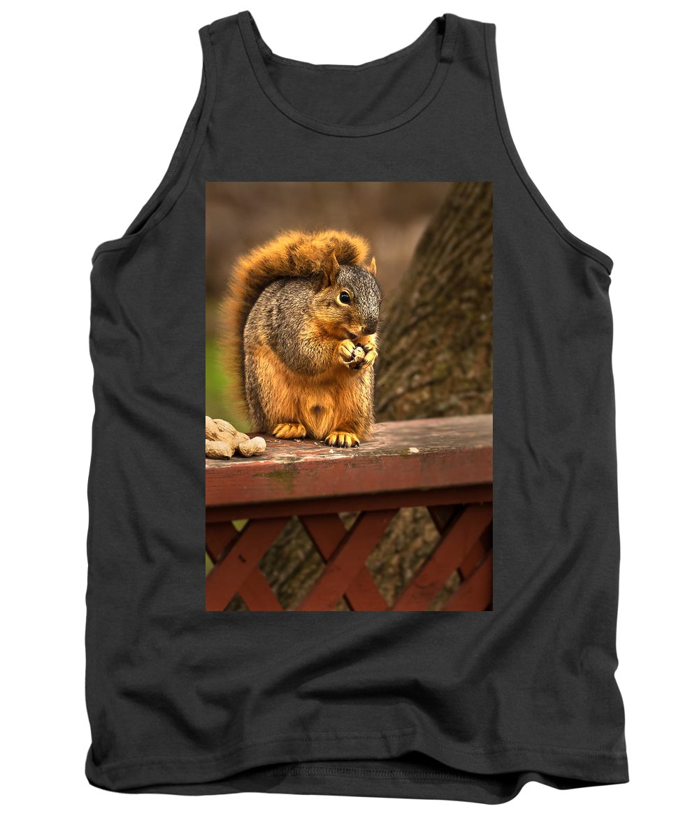 Eastern Fox Squirrel Tank Top featuring the photograph Squirrel Eating A Peanut by Onyonet Photo Studios