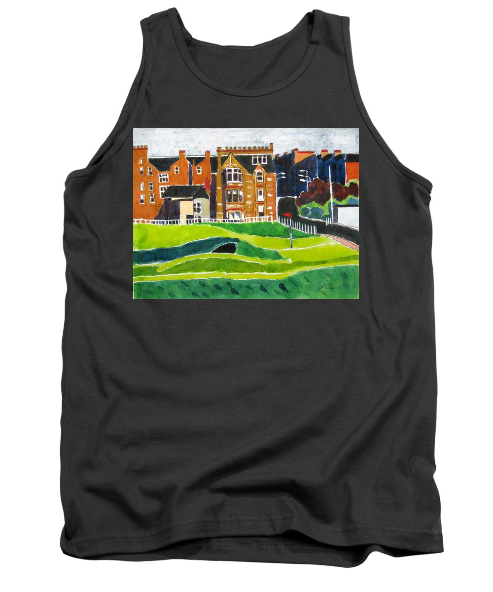 St Andrews Tank Top featuring the painting St Andrews 17 by Lesley Giles