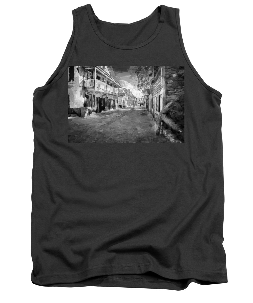 St. George Street Tank Top featuring the photograph St George Street St Augustine Florida Painted Bw by Rich Franco