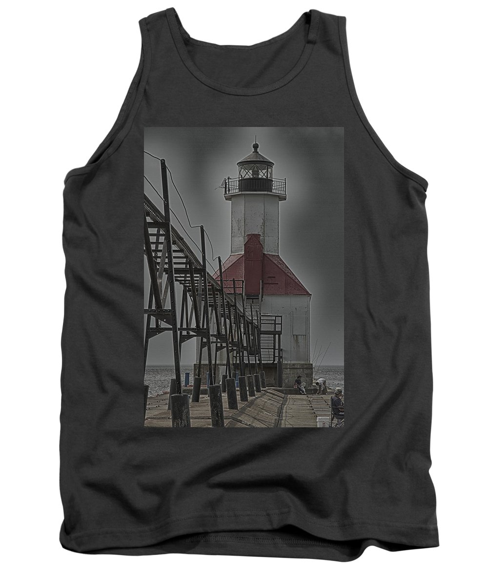 North Pier Tank Top featuring the photograph St. Joseph North Pier Lighthouse Lake Michigan by Jack R Perry