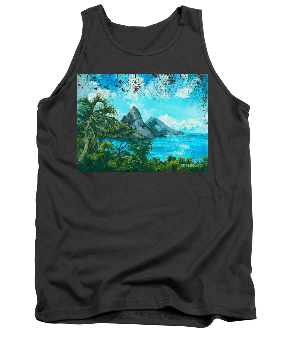 Mountains Tank Top featuring the painting St. Lucia - W. Indies by Elisabeta Hermann