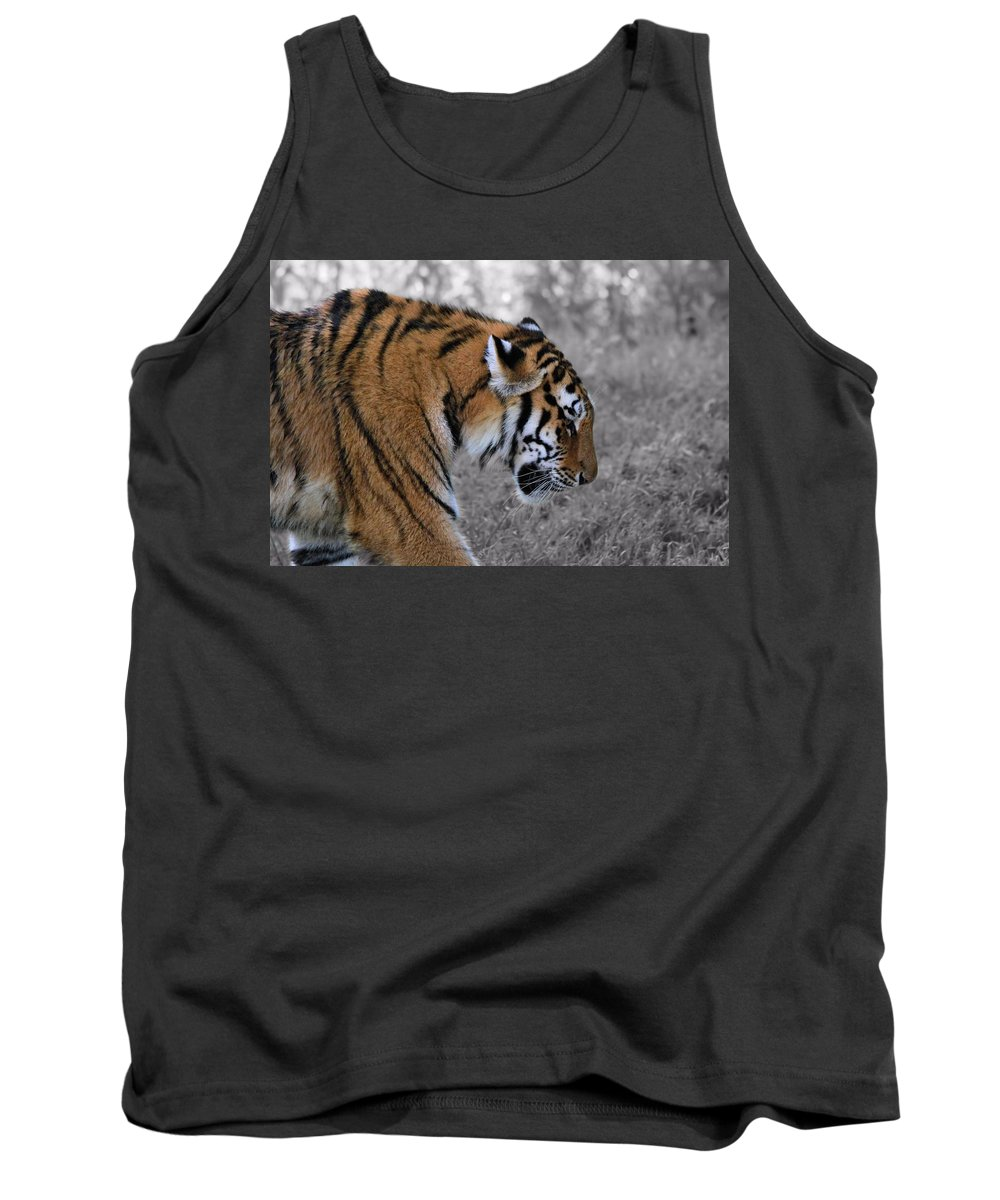 The Tiger Tank Top featuring the photograph Stalking Tiger by Dan Sproul
