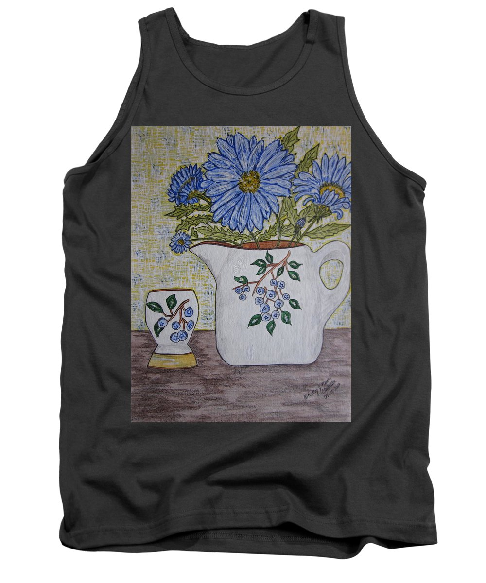 Stangl Blueberry Pottery Tank Top featuring the painting Stangl Blueberry Pottery by Kathy Marrs Chandler