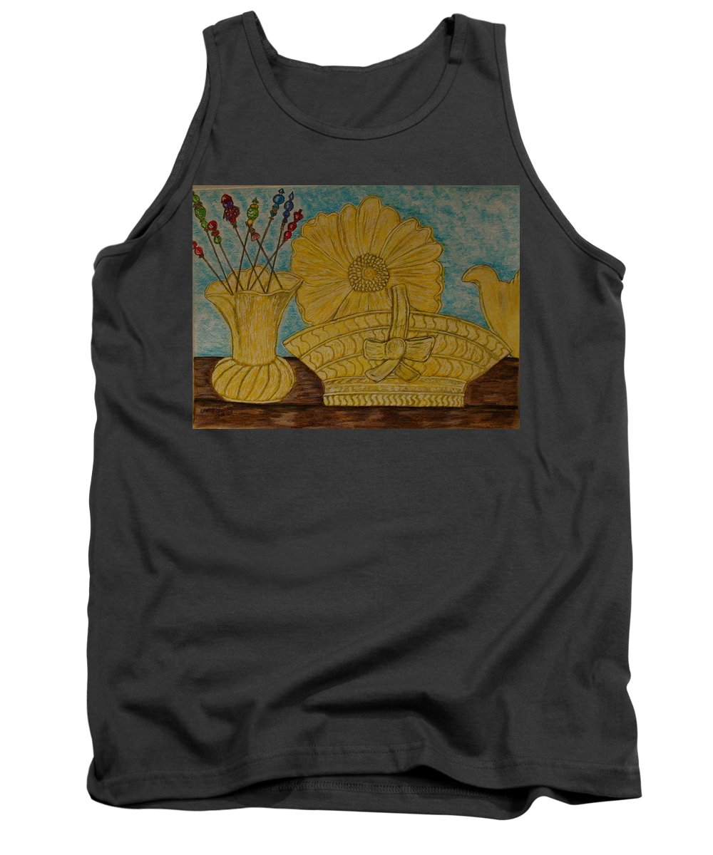 Stangl Pottery Tank Top featuring the painting Stangl Pottery Satin Yellow Pattern And Vintage Hat Pins by Kathy Marrs Chandler
