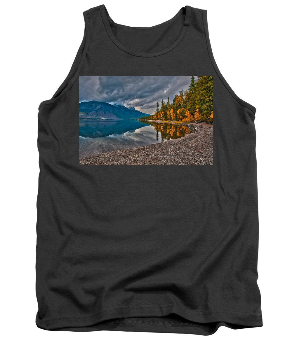 Mcpartland Reflections Tank Top featuring the photograph Stanton Mountain With Mount Vaught And Mcpartland Reflected In Lake Mcdonald by Brenda Jacobs