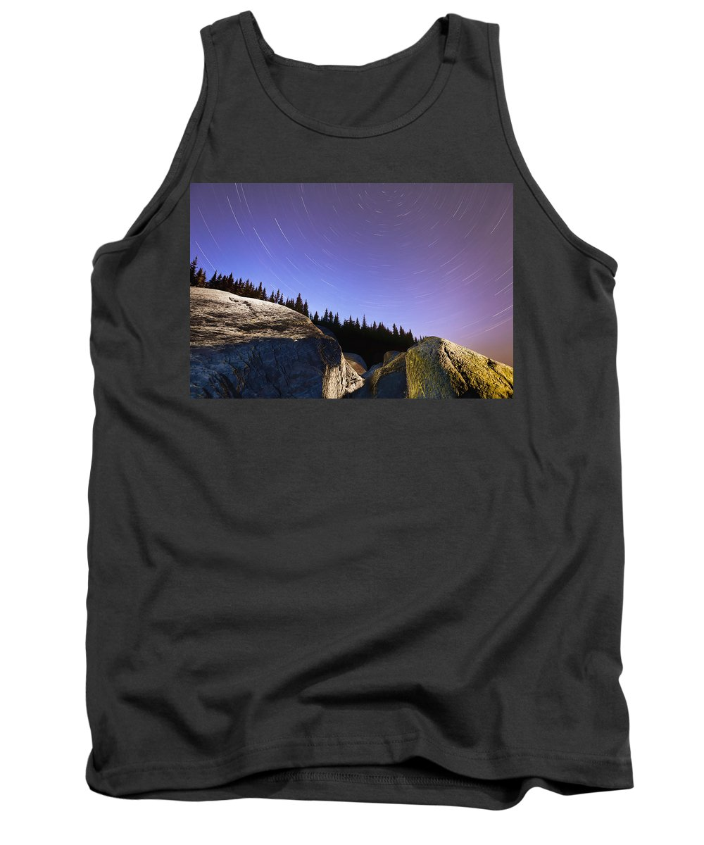 Blur Tank Top featuring the photograph Star Trails Over Rocks In Saguenay-st by Yves Marcoux