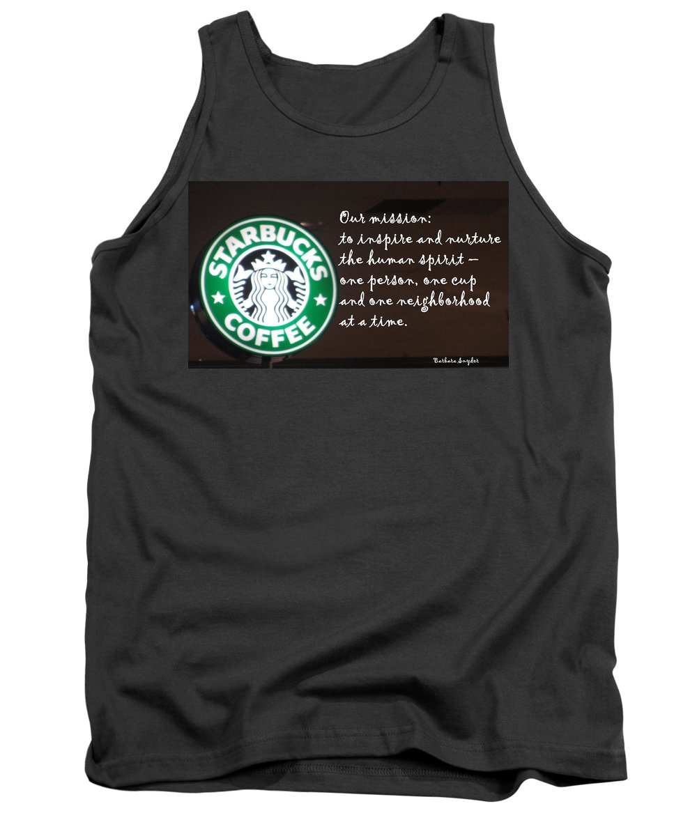 Barbara Snyder Tank Top featuring the digital art Starbucks Mission by Barbara Snyder