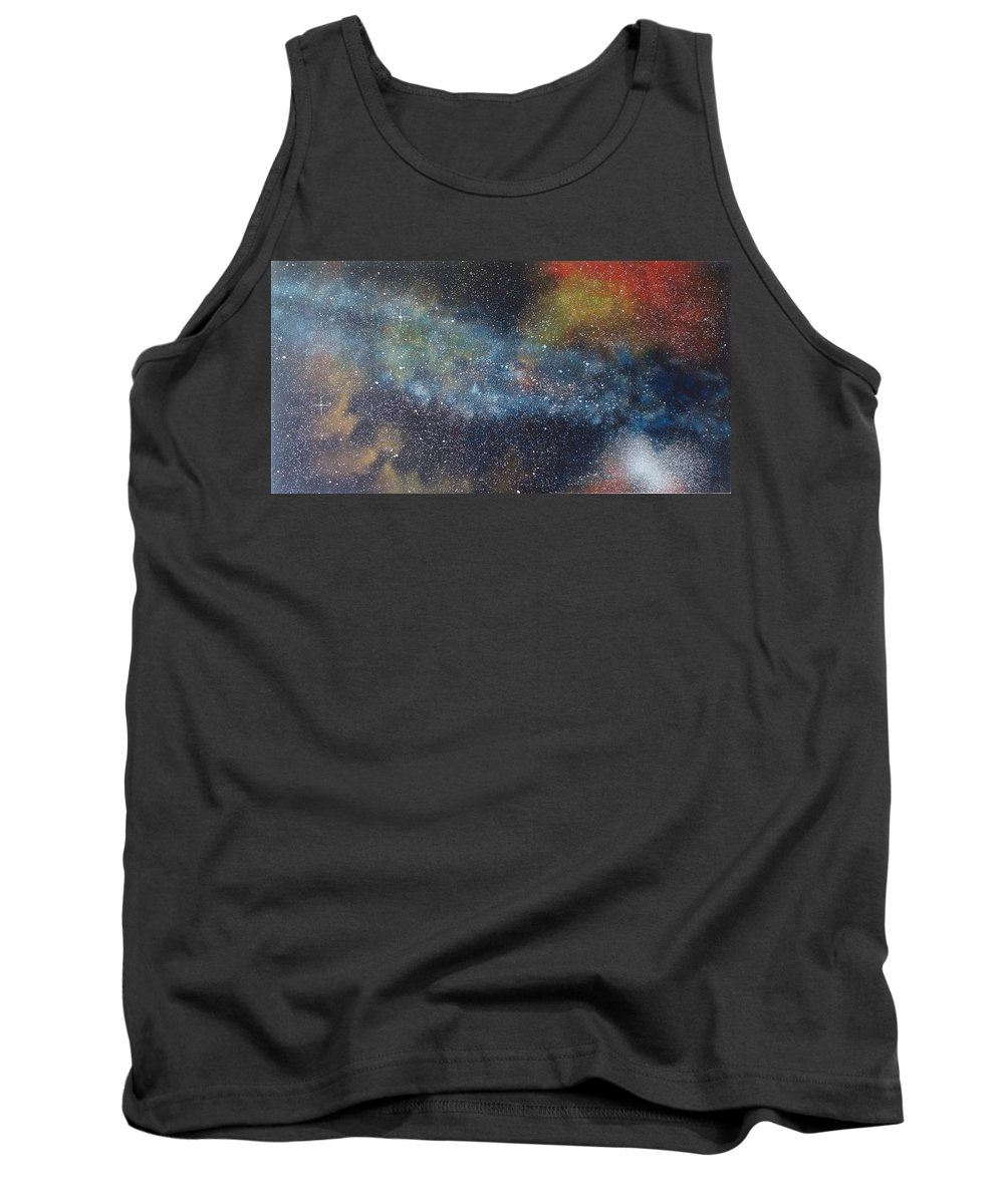 Space;stars;starry;nebula;spiral;galaxy;star Cluster;celestial;cosmos;universe;orgasm Tank Top featuring the painting Stargasm by Sean Connolly