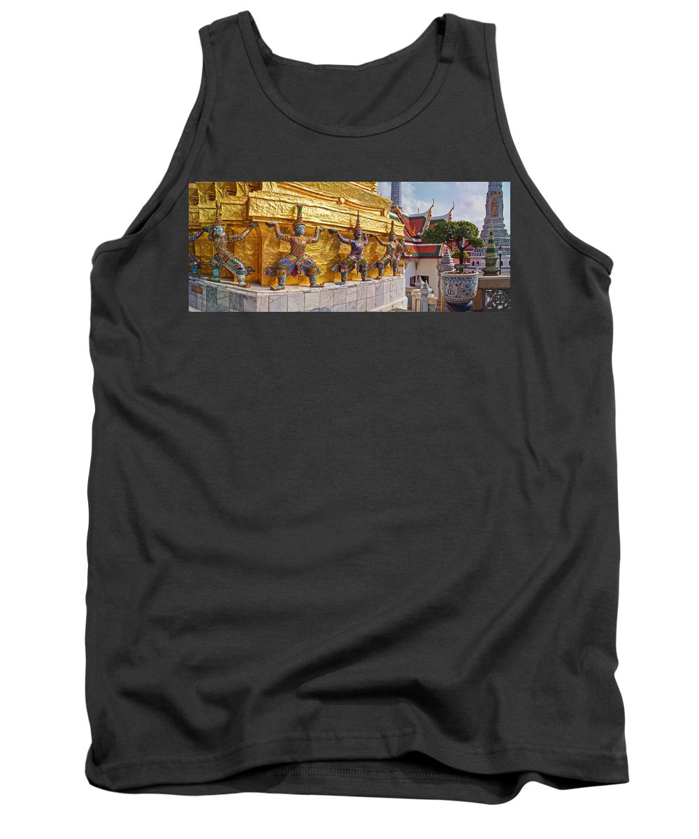 Photography Tank Top featuring the photograph Statues At A Temple, Wat Phra Kaeo by Panoramic Images