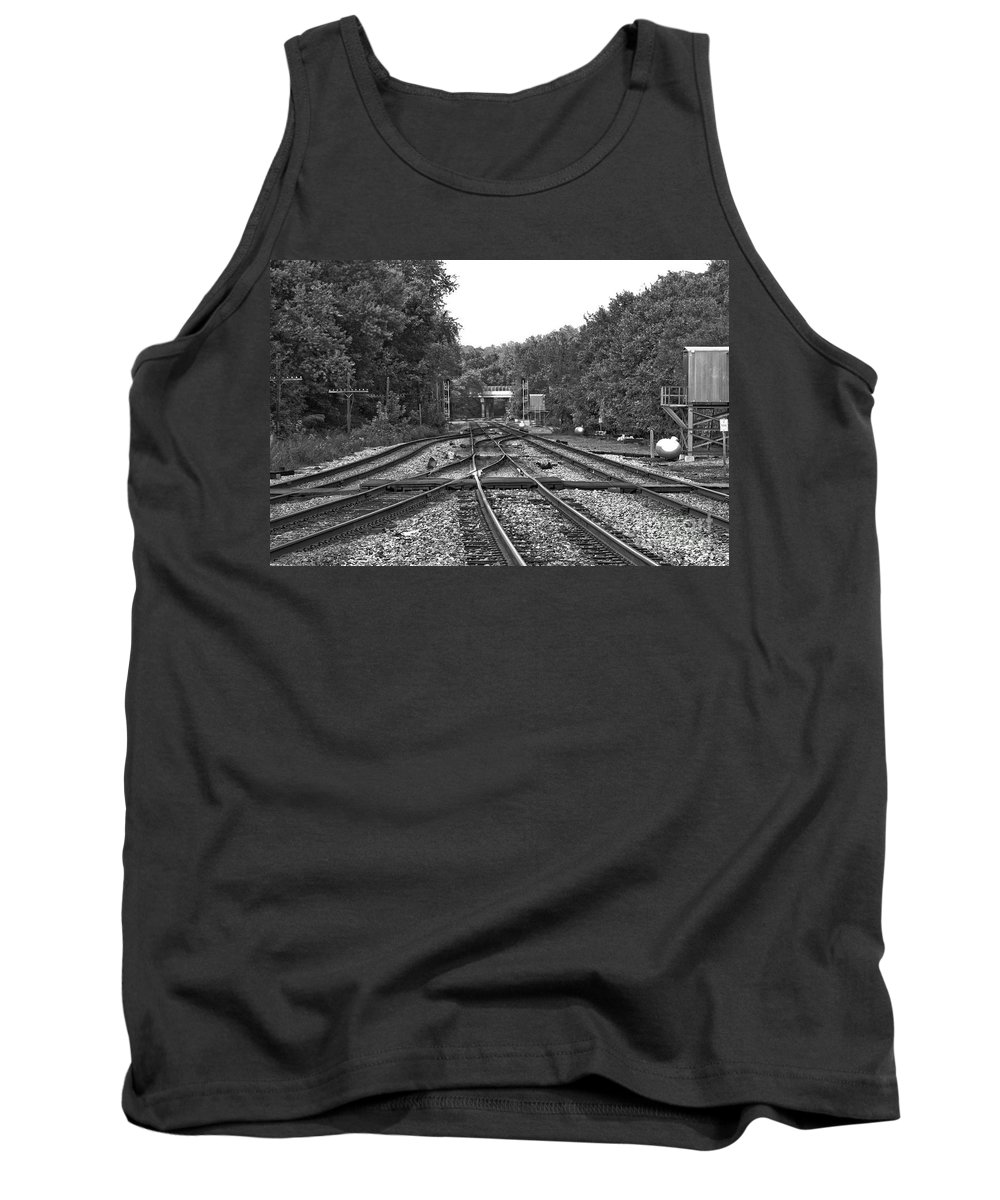 Railroad Tank Top featuring the photograph Steel Rail Intersections.  Point Of Rocks Md by Thomas Marchessault