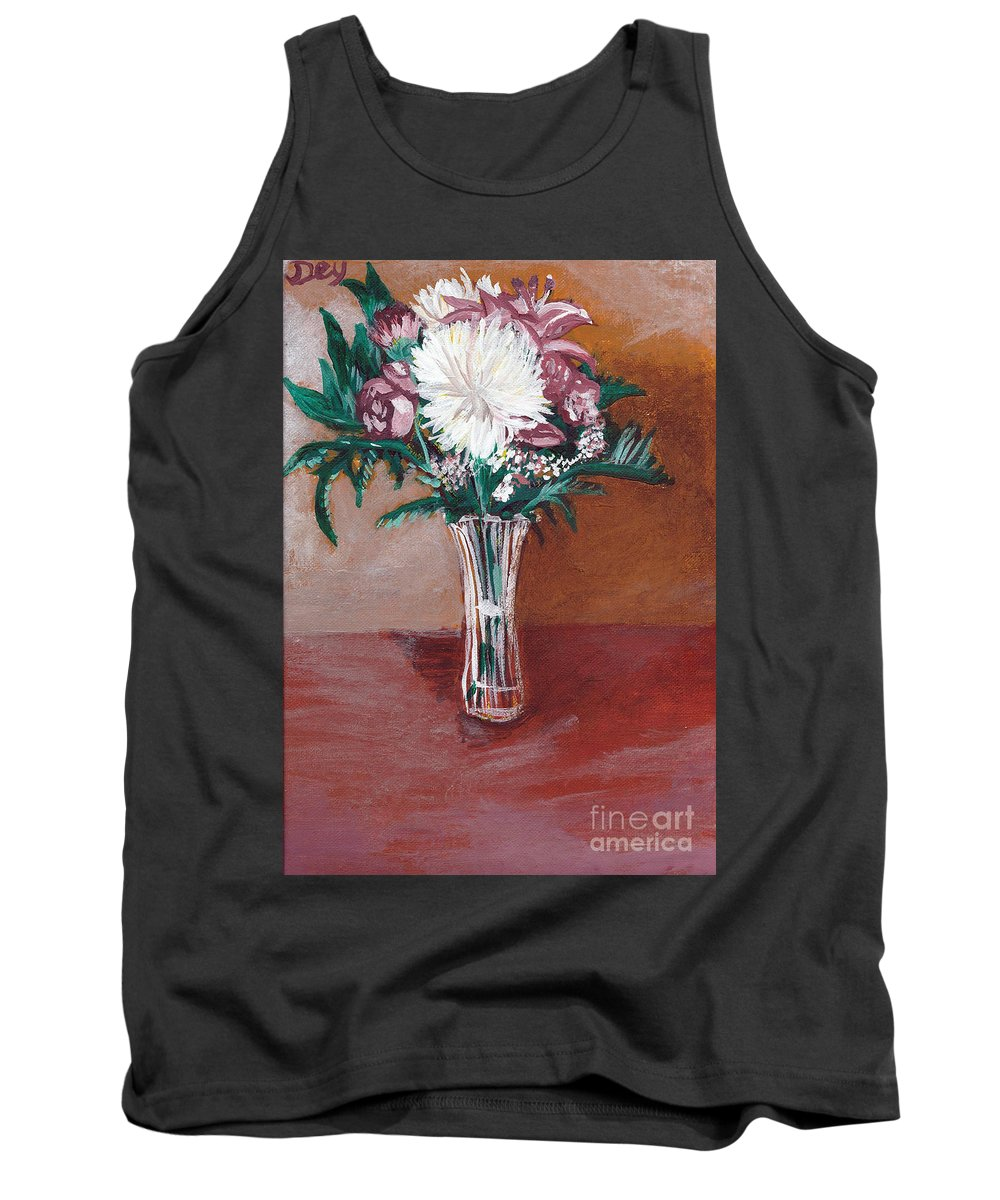 Still Life Tank Top featuring the painting Bouquet By Janelle Dey by Janelle Dey