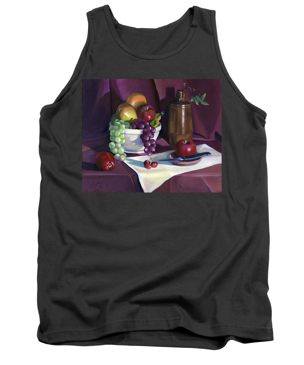 Fine Art Tank Top featuring the painting Still Life With Apples by Nancy Griswold