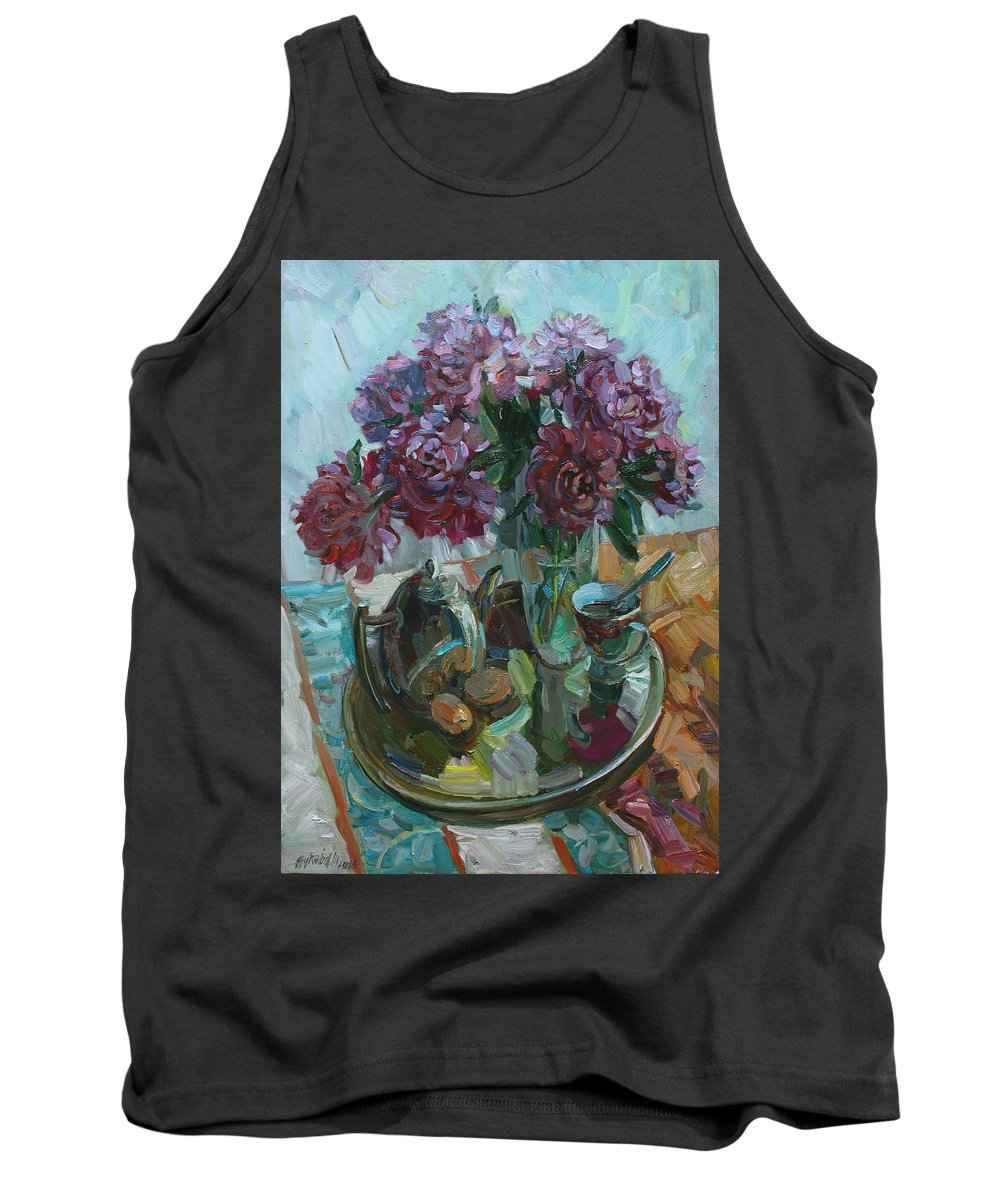 Still Life Tank Top featuring the painting Still Life With Peonies by Juliya Zhukova