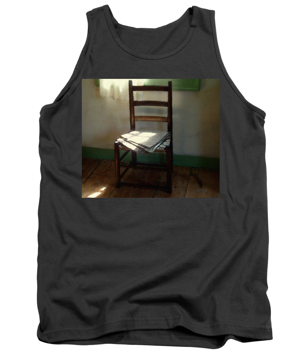 Chair Tank Top featuring the painting Still Life With Straight Chair by RC DeWinter