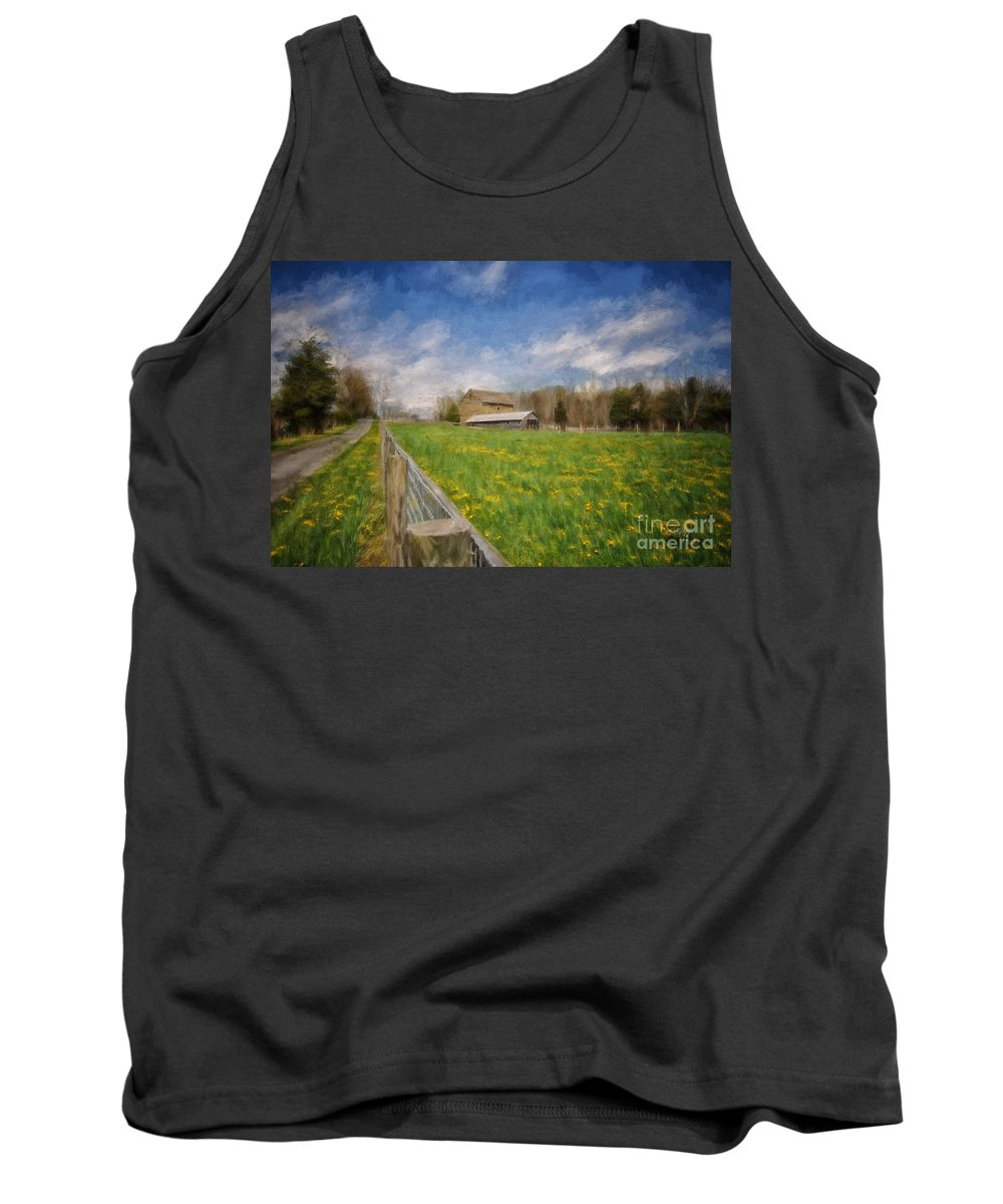 Barn Tank Top featuring the photograph Stone Barn On A Spring Morning by Lois Bryan