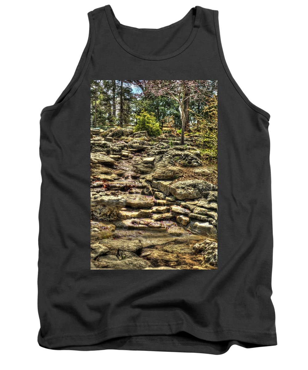Hdr Tank Top featuring the photograph Stone Spring At Woodward Park 1 by John Straton
