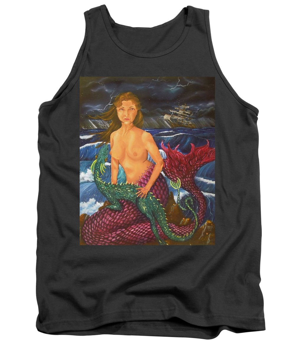 Mermaid Tank Top featuring the painting Storm And Peace by Nicole Angell