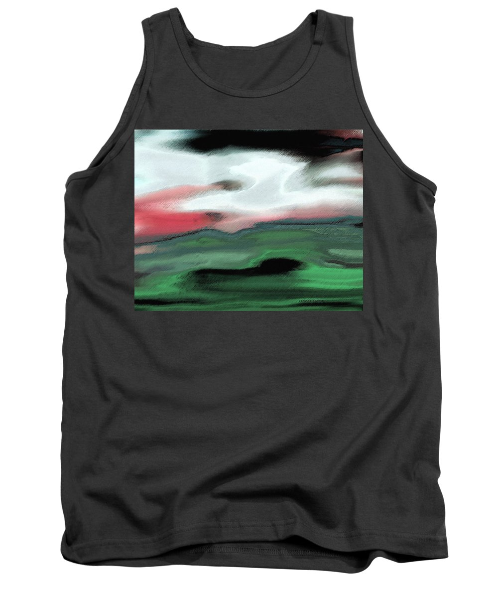 Abstract Tank Top featuring the mixed media Storm On The American Landscape by Lenore Senior