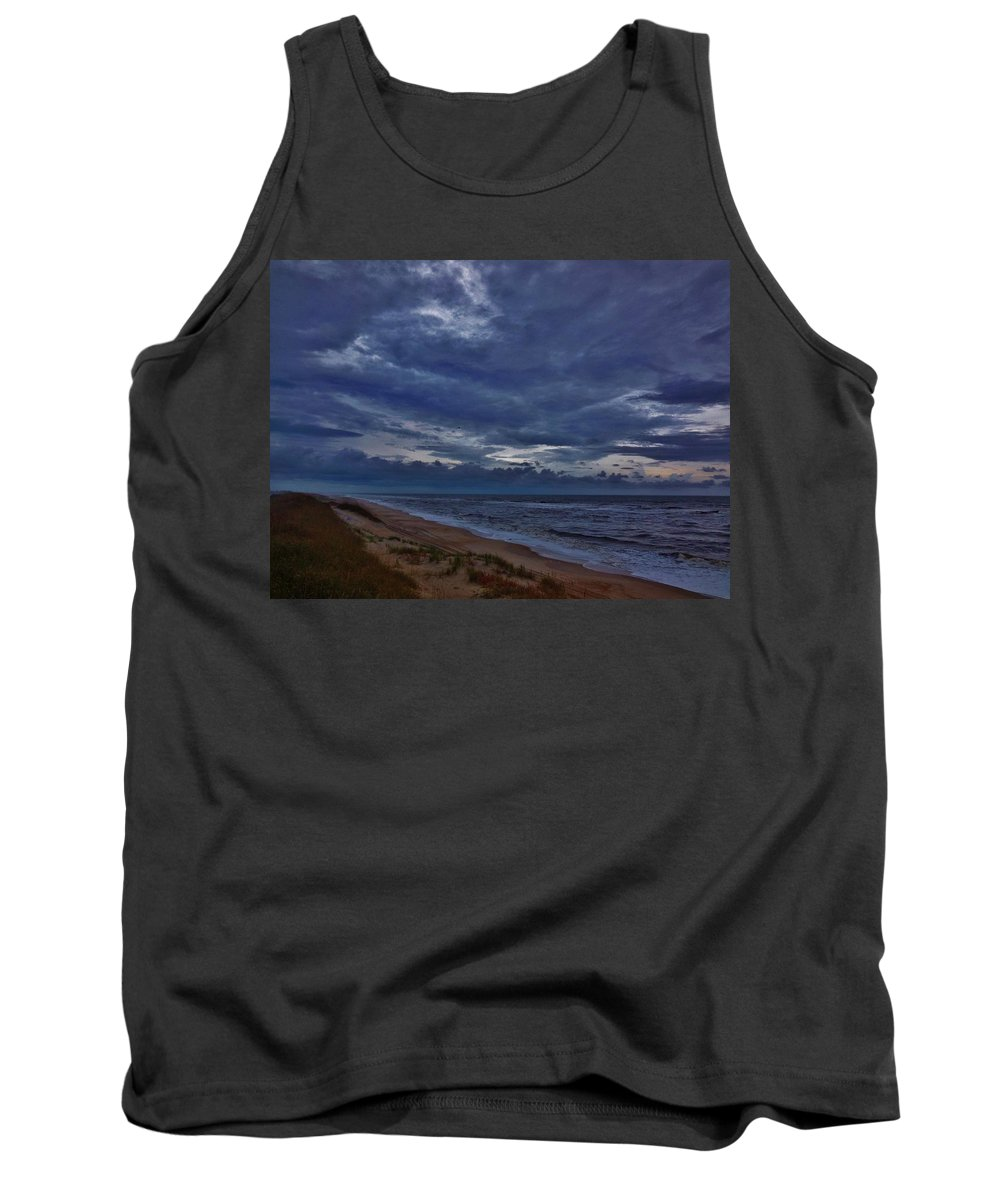 Mark Lemmon Cape Hatteras Nc The Outer Banks Photographer Subjects From Sunrise Tank Top featuring the photograph Stormy Morning 2 11/11 by Mark Lemmon