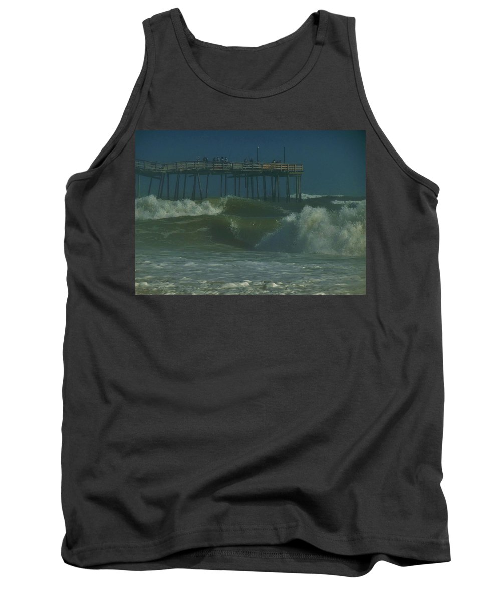 Mark Lemmon Cape Hatteras Nc The Outer Banks Photographer Subjects From Sunrise Tank Top featuring the photograph Stormy Waves Avon Pier 6 10/13 by Mark Lemmon