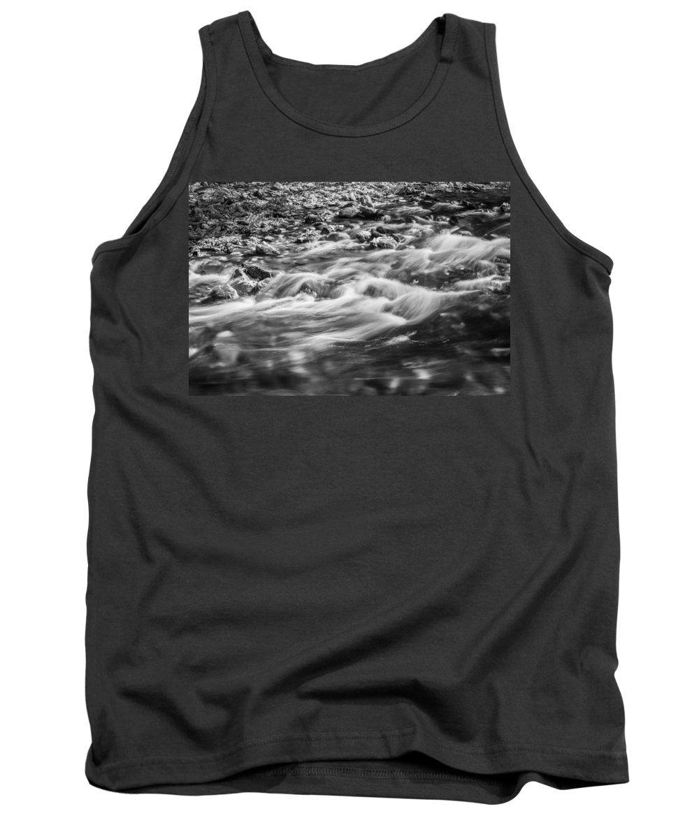 Stream Tank Top featuring the photograph Stream Fall Colors Great Smoky Mountains Painted Bw by Rich Franco