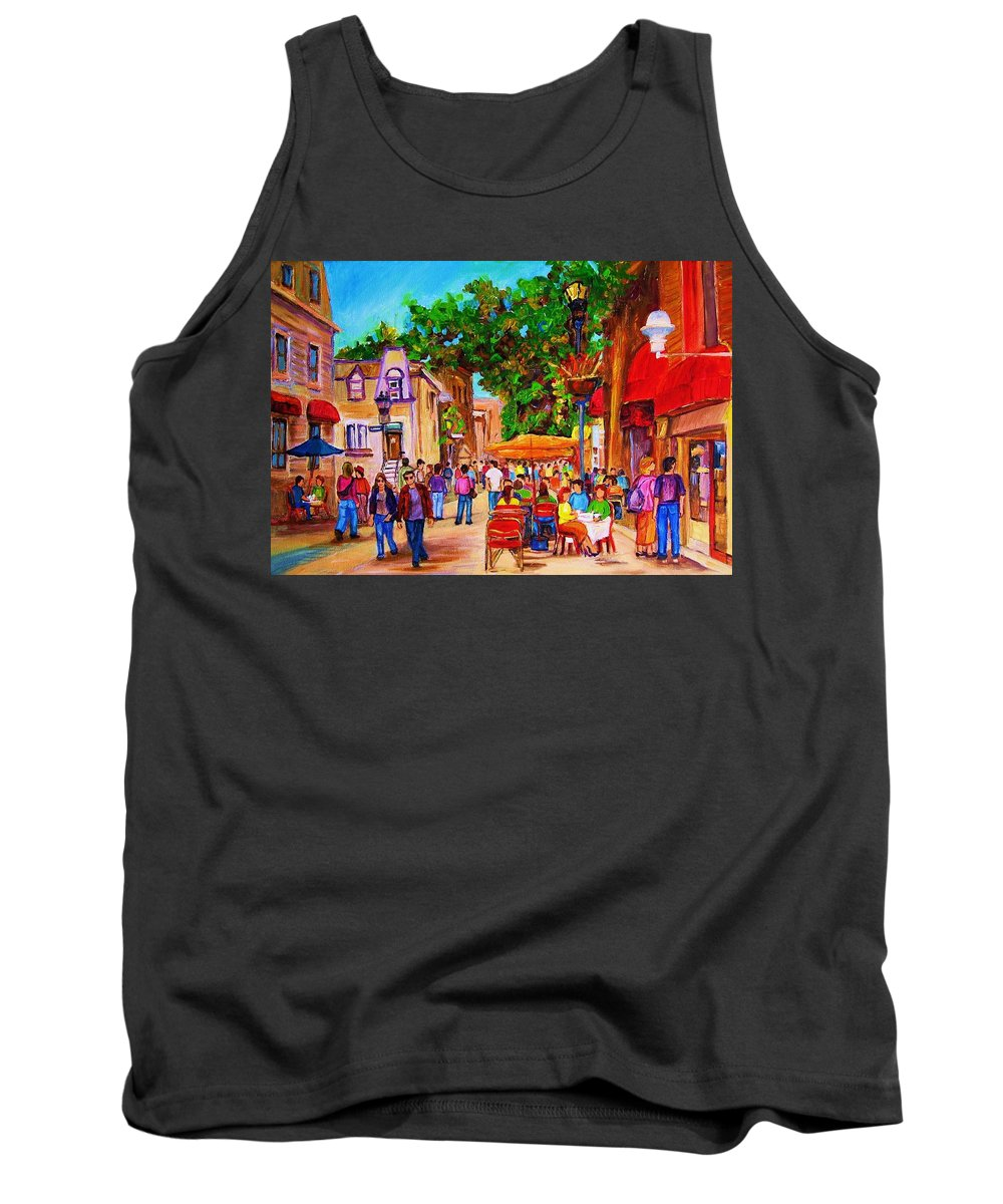 Summer Cafes Montreal Street Scenes Tank Top featuring the painting Summer Cafes by Carole Spandau