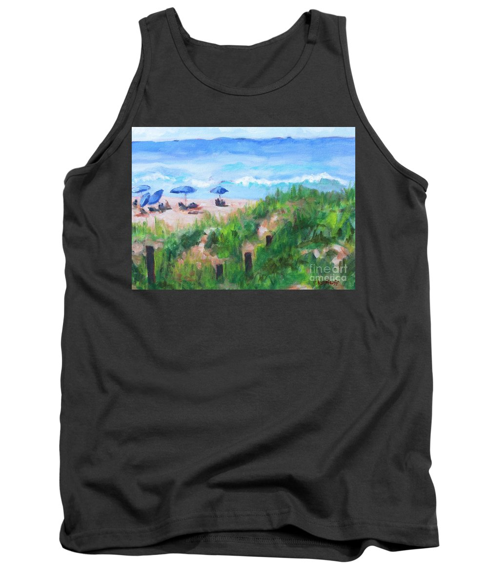 Beach Tank Top featuring the painting Summer On The Beach by Jan Bennicoff