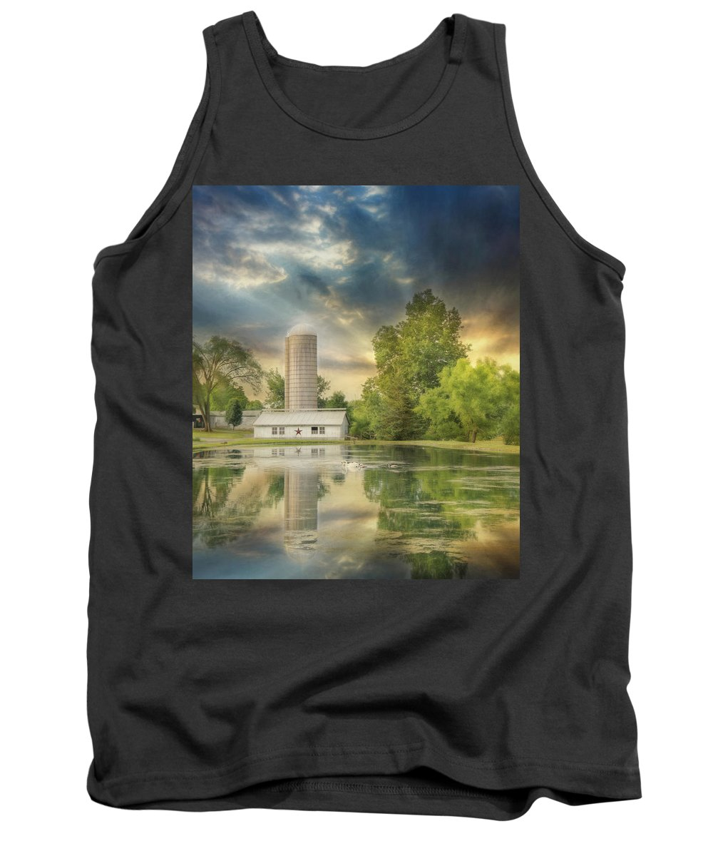 Barn Tank Top featuring the photograph Summer Swans by Lori Deiter