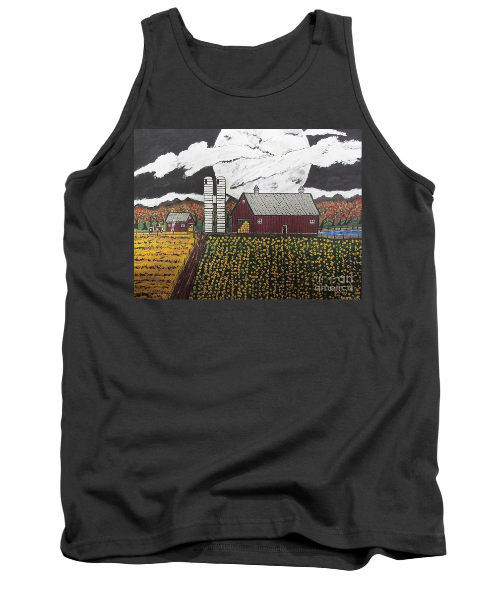 Tank Top featuring the painting Sun Flower Farm by Jeffrey Koss